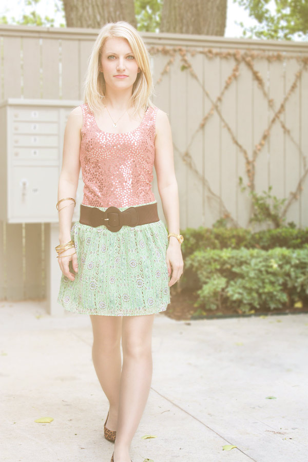 Vintage sequin top, Forever 21 Green belted skirt, leopard flats