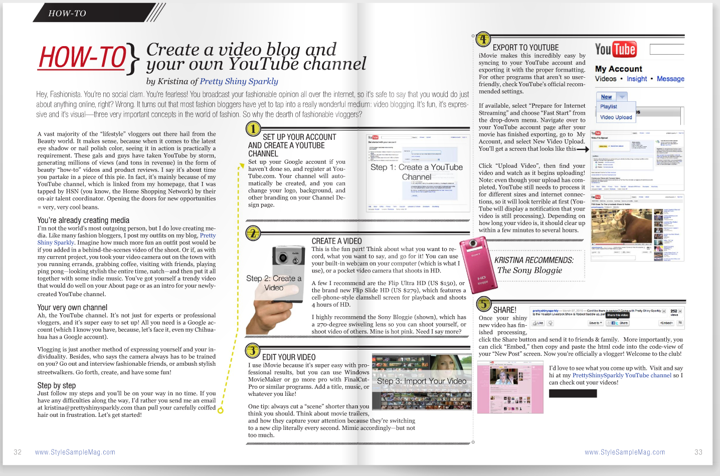 How to create a video blog and your own YouTube channel Style Sample Magazine Issue #7