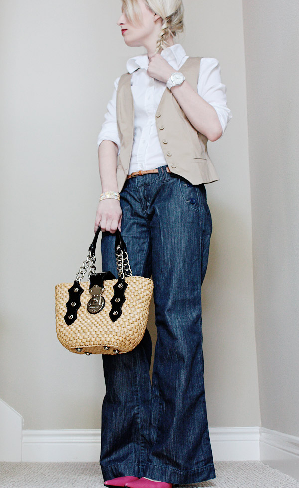 high waist sailor button jeans american eagle with vest and oxford shirt michael kors purse