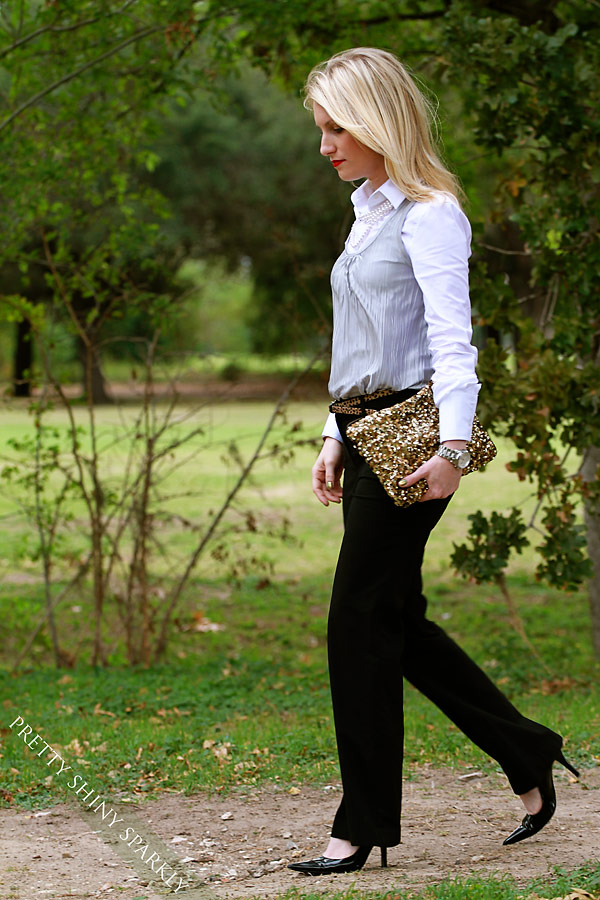 Zara Sequin Clutch & White Shirt