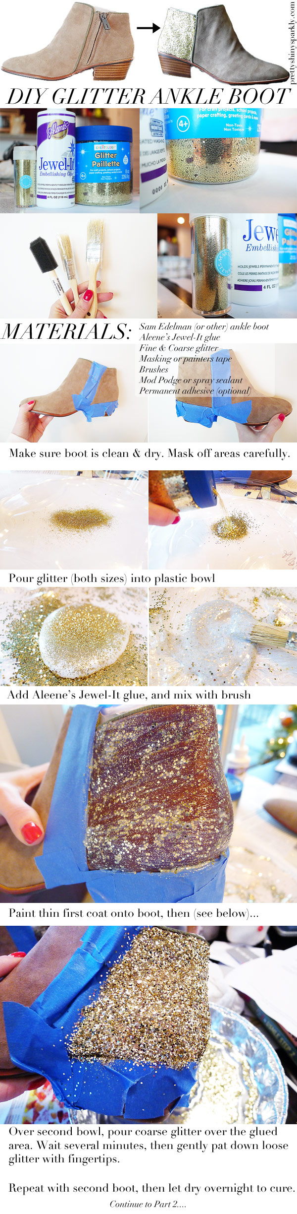 diy glitter ankle boot instructions part 1