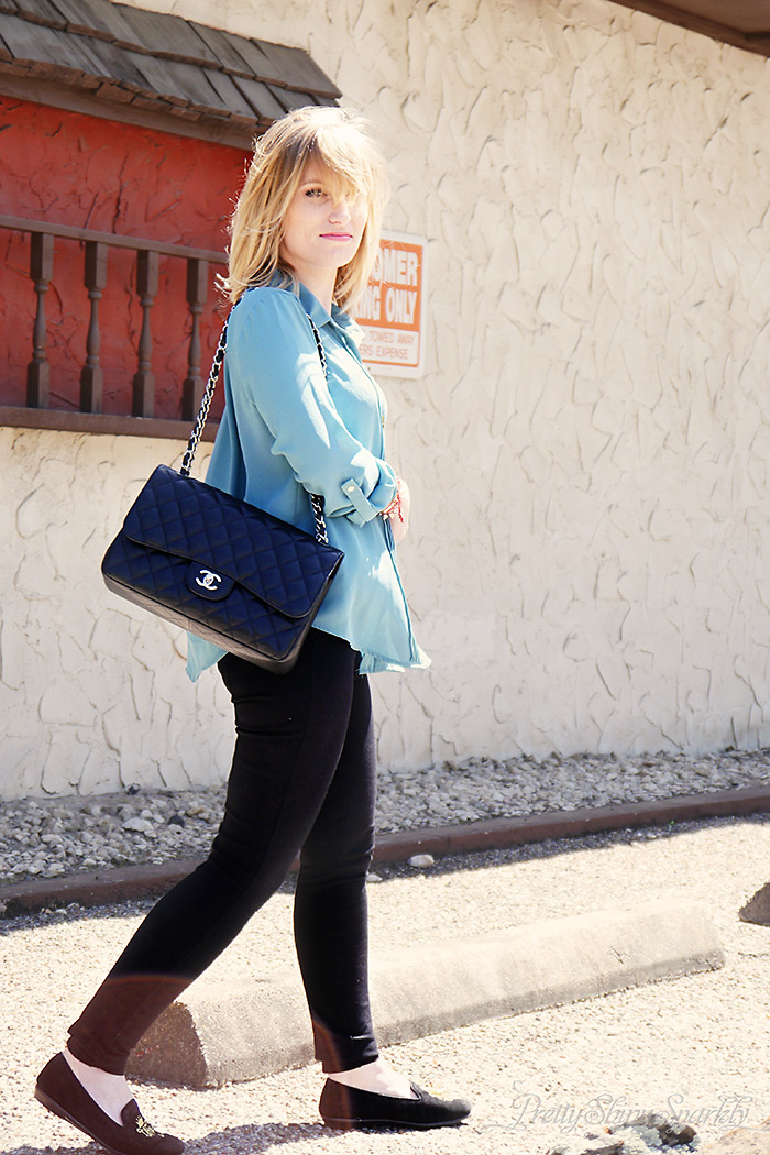 Blue Steel - chanel bag, Blue tunic shirt and black jcrew pixie pants
