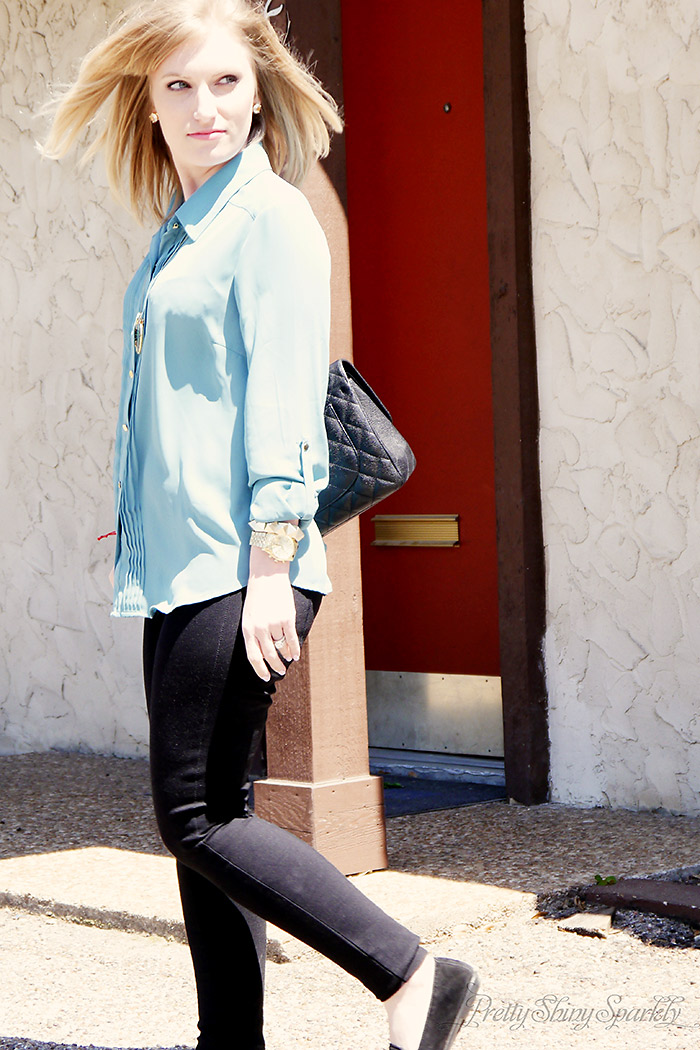 Blue Steel Blue tunic shirt and black jcrew pixie pants Chanel bag