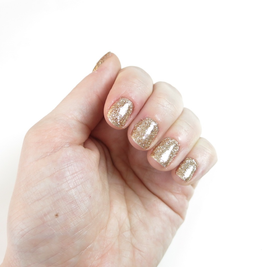 nails gold glitter rockstar gel