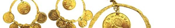 yochi women's gold coin hoop earrings