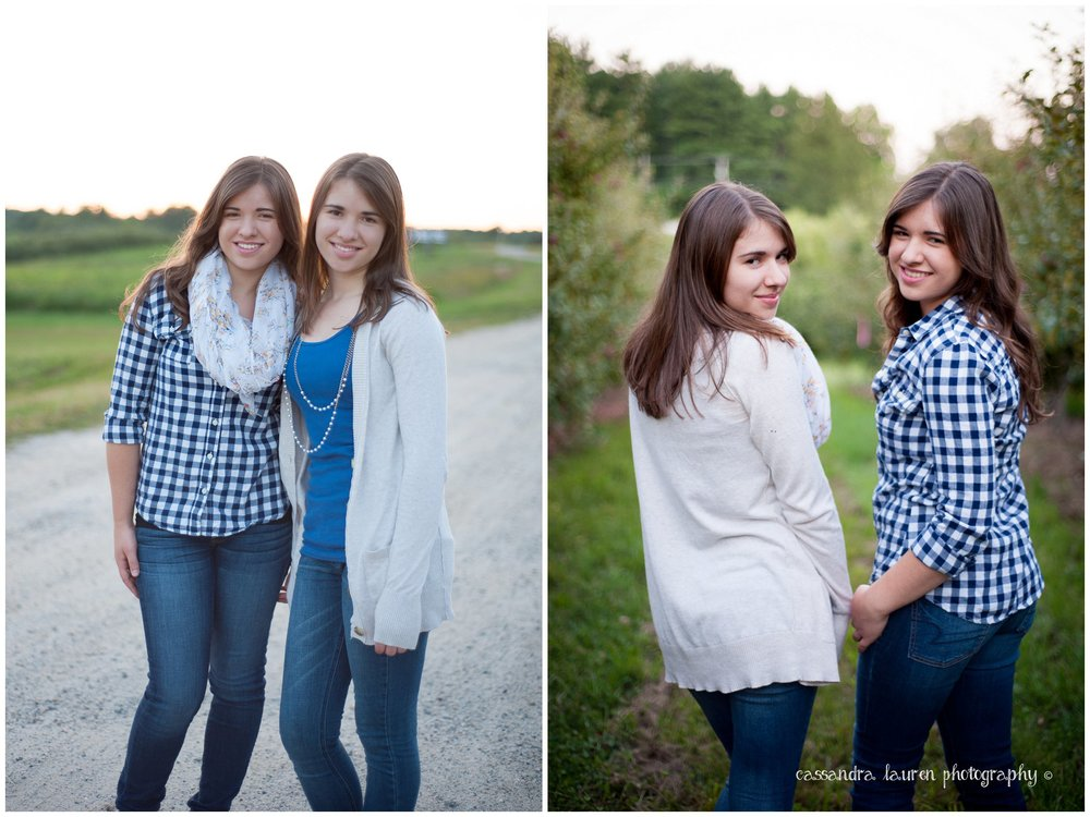 Twin High School Girls Senior Pictures Southern NH portrait photographer Apple Orchard Mack's Apples