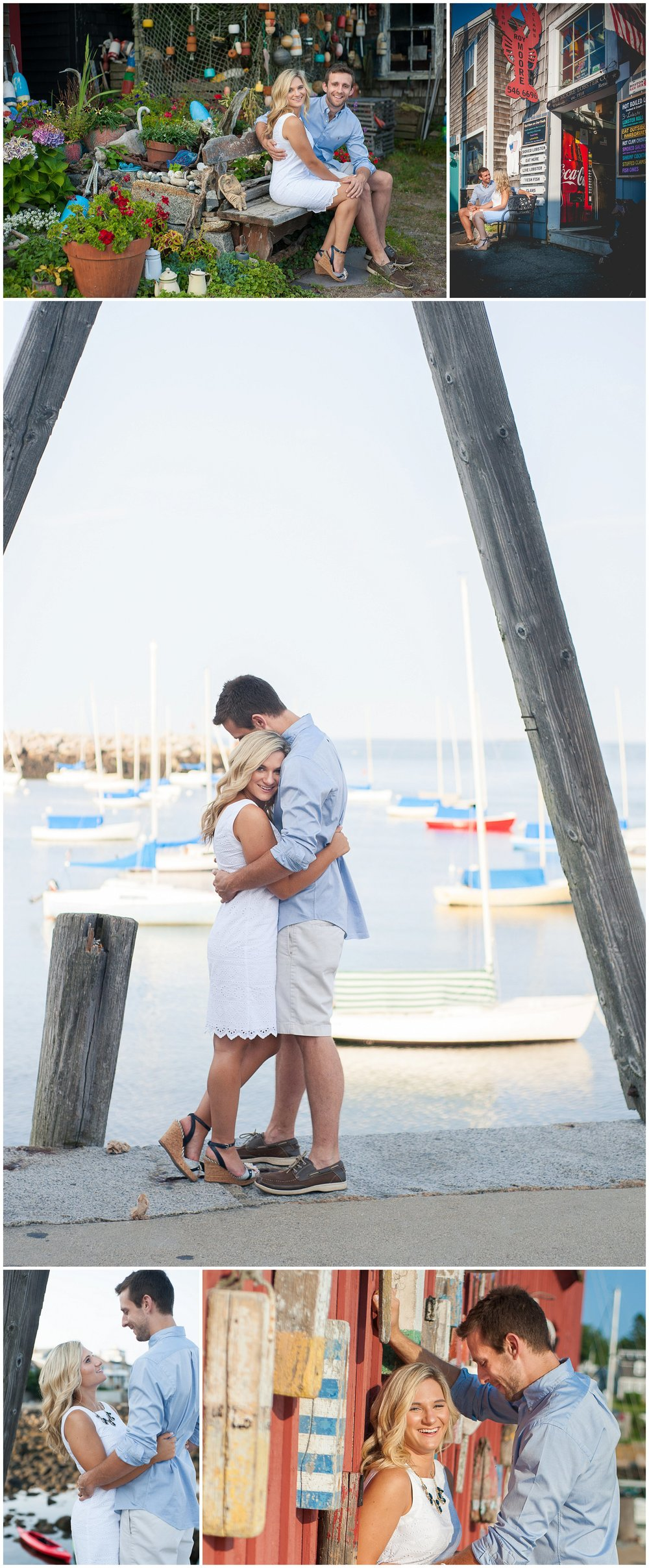 Bearskin Neck Rockport MA nautical engagement pictures photographer