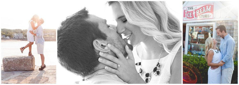 Sun drenched Rockport MA engagement photographer Bearskin Neck ice cream shop black and white