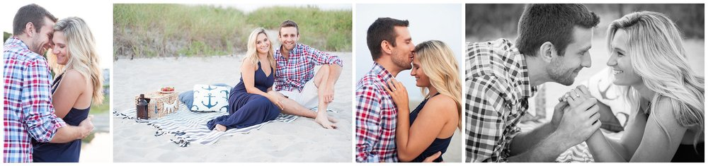 Good Harbor Beach Gloucester MA nautical summer picnic engagement session photographer