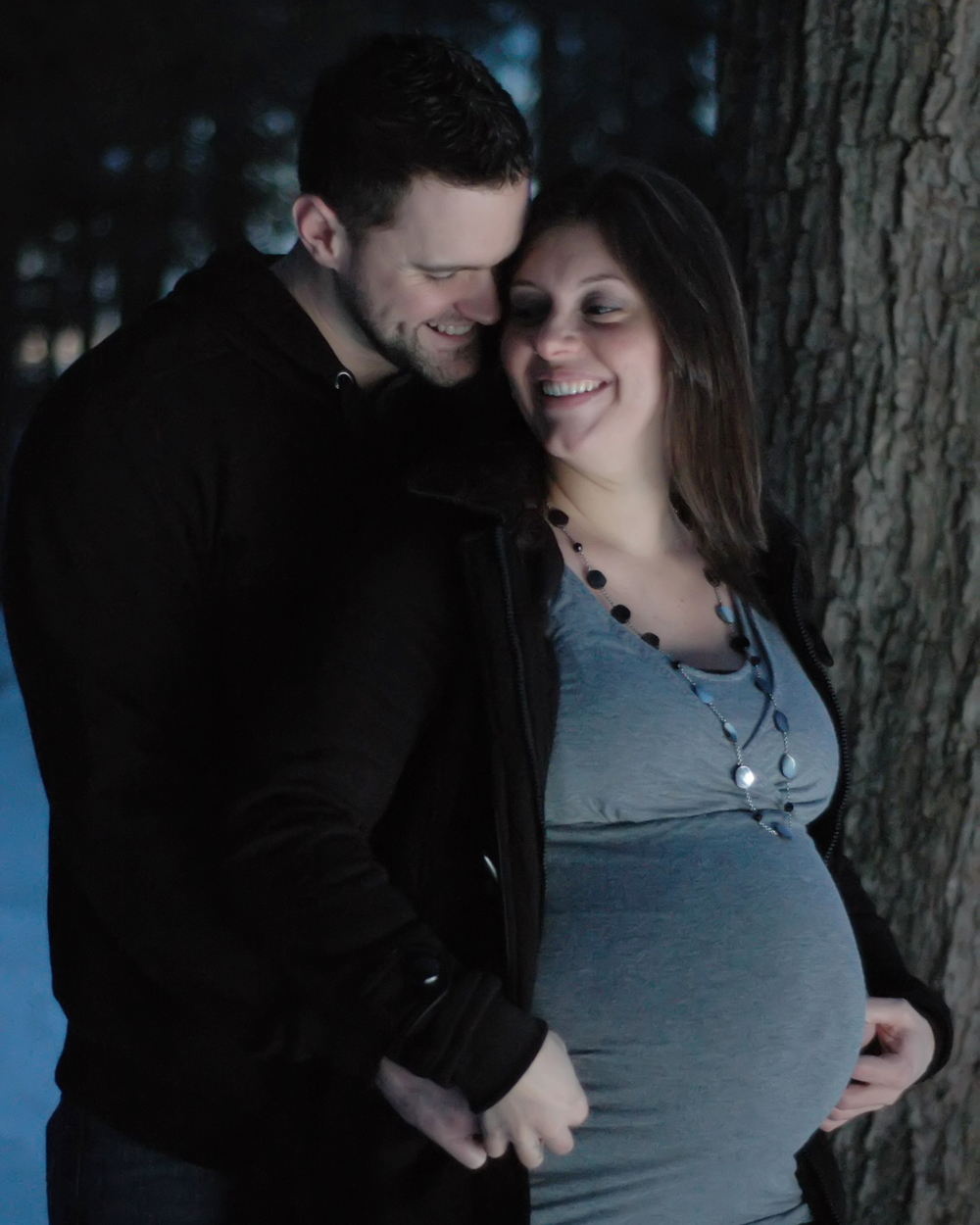 Northshore MA winter night on location maternity and family photographer