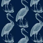 blue heron, indigo white