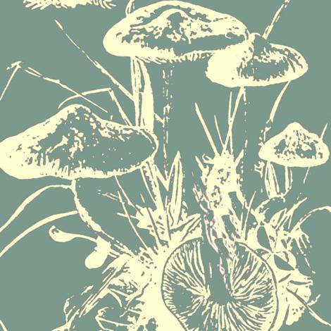 mushroom large, cerulean, dusty teal
