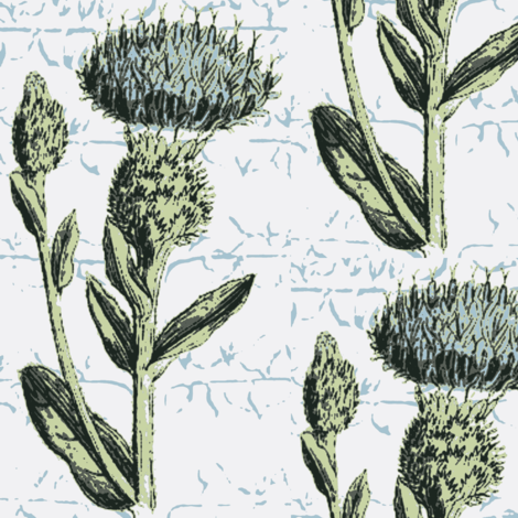 thistle espalier, minty blue