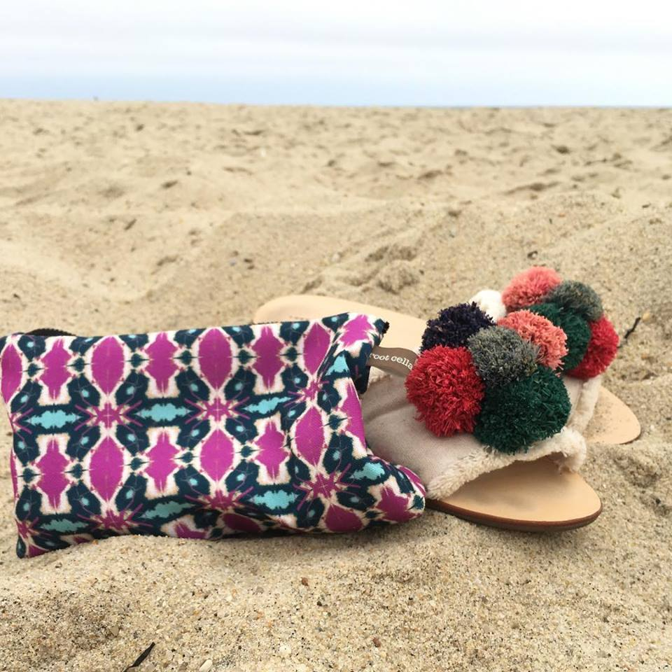 we make cosmetic bags and drawstring bikini bags with our Porch textile— visit our  Shop page  for details— above, tandoor hot purple ocean small cosmetic bag