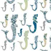 vintage mermaid handblock, linen