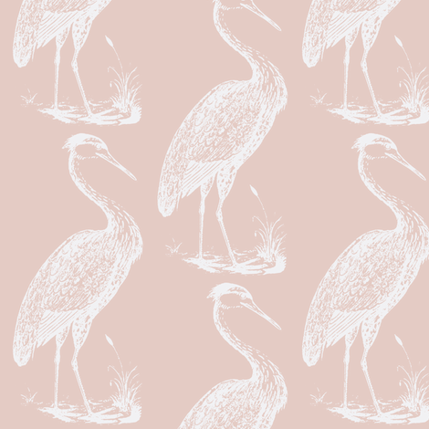 blue heron, pinkish white