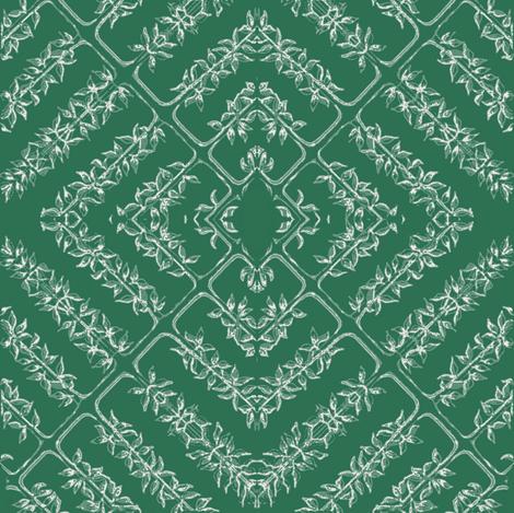 floral tile, evergreen