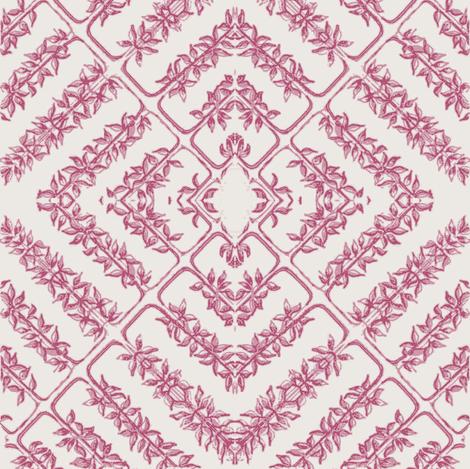 floral tile, milk/garnet