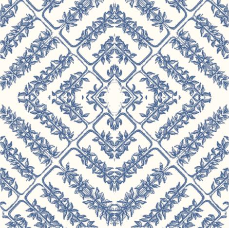 floral tile, milk/sapphire