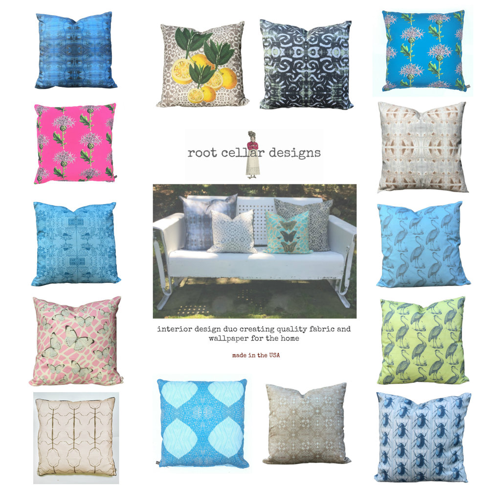 indoor or outdoor - PILLOWS GALORE— you choose the pattern and color, then tell us whether youwould like them in Cotton Sateen Luxe or Outdoor PORCH with Outdoor Insert. PORCH is a durable textile, perfectfor all year round use either indoor in a high traffic area or for outdoors all year round. Water, Stain & Mold resistant,