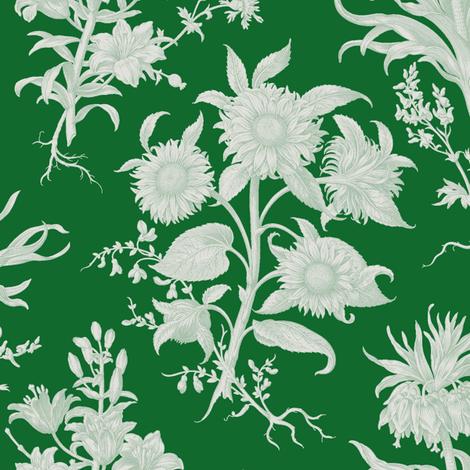 sunflower toile, evergreen