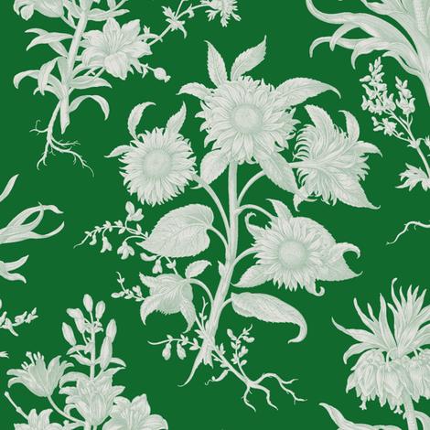 sunflower toile, evergreen