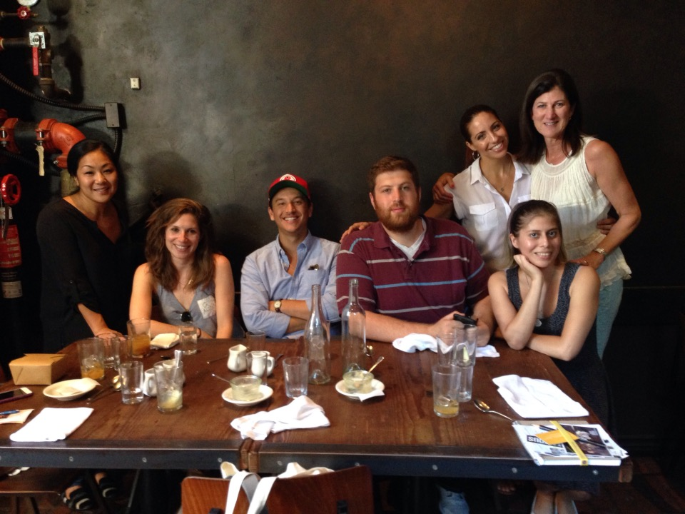 Lunch with Anne Oburgh (far left), Amanda Weiss (left) and their MAL team at Gjelina in Venice