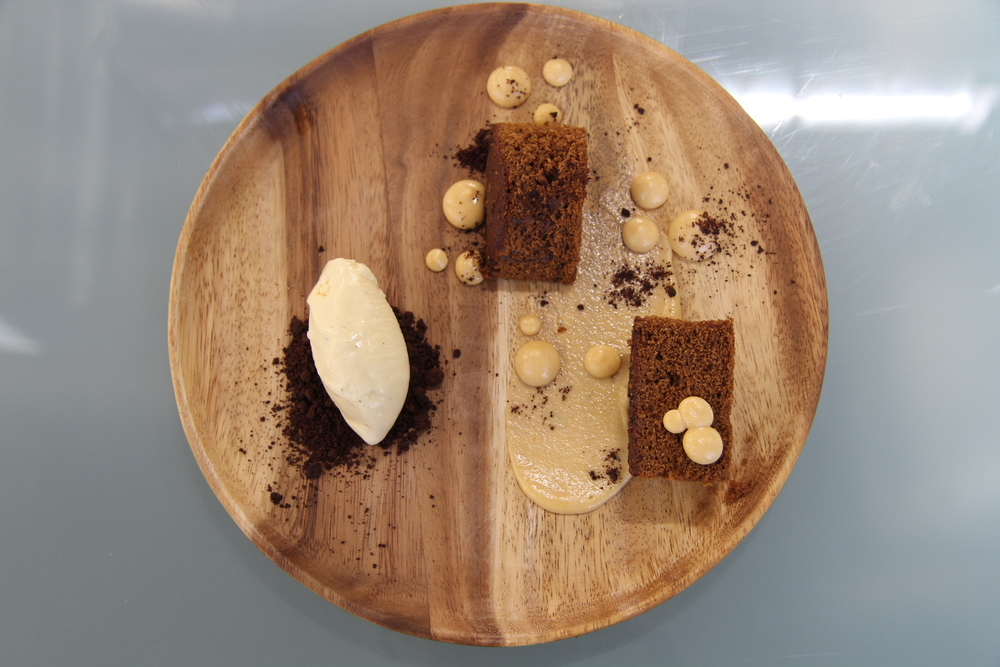 Gingerbread cake. Sweet Potato Custard. Chocolate Crumble. Nutmeg Ice Cream.