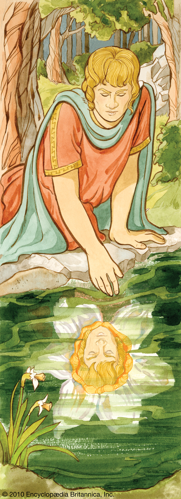"This Encyclopedia Britannica image depicts the myth of narcissus, and explains why the Narcissus flower means ""egotism""."