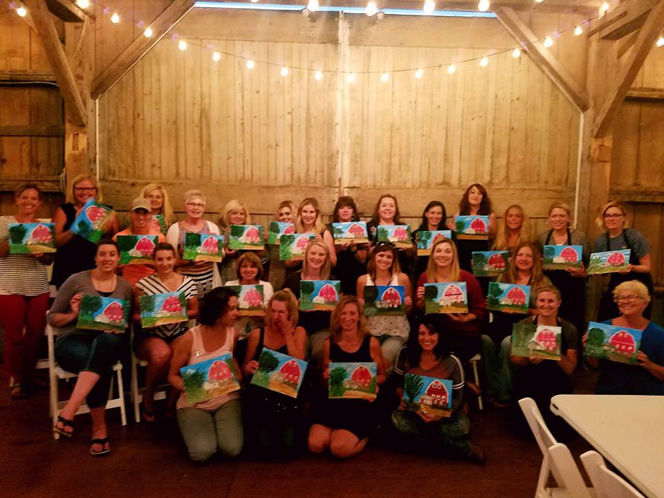 Great night at the Red Barn Farm!  Most painters were able to attend even though the dark skies were among us!  Such a great night and so many talented painters following along as they created beautiful Red Barn Farms of their very own!