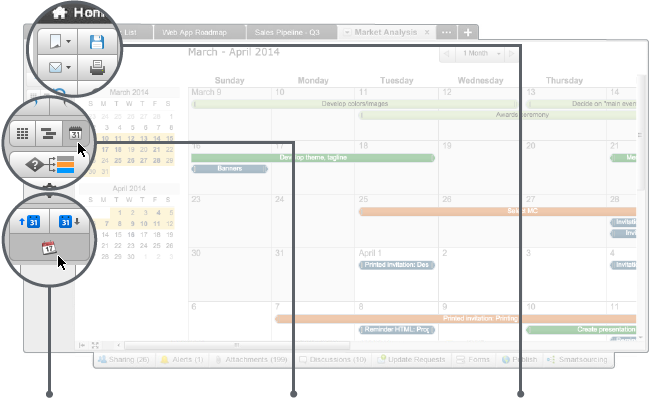 Interactive and easily customizable, our calendar is accessible to any user. You can easily switch to see your project from the familiar grid format to a Gantt chart or a calendar view–whichever you prefer.  You can also overlay your project dates on your iCal or Google Calendar to get a comprehensive view of all your activities. In addition to updating your project directly from the calendar view, you can export your project, email it to others, or print it. With a variety of options for communicating calendar details with your team, it is easy to track the progress of your project and stay ahead of deadlines.