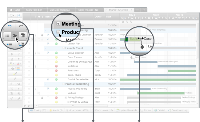 """Using interactive Gantt chart capabilities in our sheets is a great way to visualize your project. You can customize your chart with conditional formatting to highlight team members' tasks or indicate status levels with different colors. Your team or clients will instantly """"get it"""" and understand the tasks and related dependencies.  Plus, it couldn't be easier to update with drag-and-drop editing (even if you've never used one before!). We makeit easy for your team to collaborate in real-time and stay current on project progress. You can update the project, reassign a task, adjust a date and more within a beautiful visual layout."""