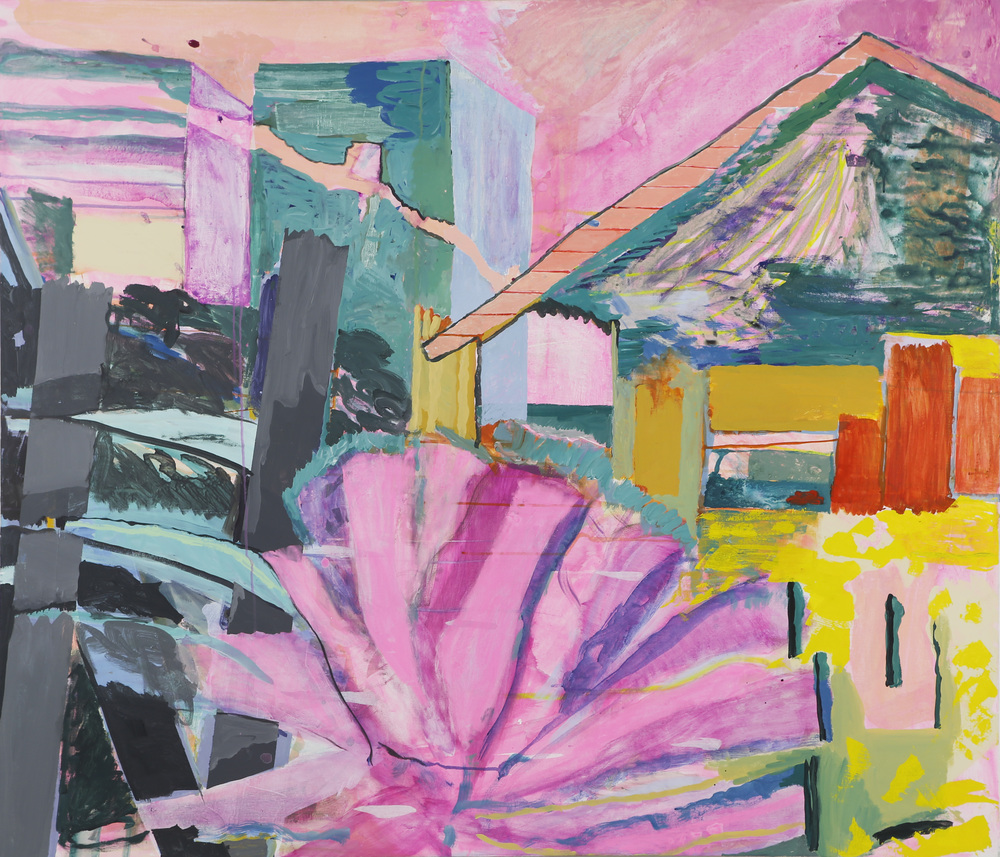 Outdoor Plant,oil and gouache on canvas,54 x63 inches, 2015 [ click image for exhibition page and catalog ]