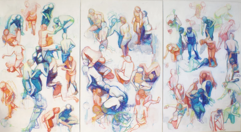 Catherine Lepp, Tryptych, 2014, oil on canvas, 78 x 144 inches
