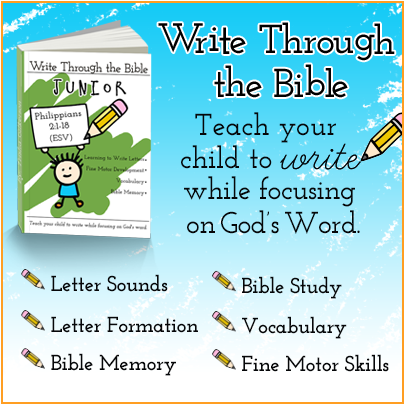 Teach your child to write while focusing on God's Word!