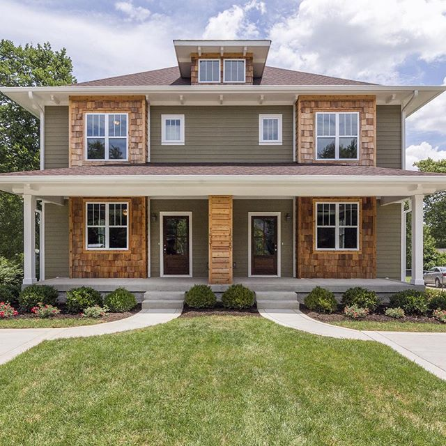 Fresh new construction twin units in east Nashville. I love the accent wood paneling on the exteriors. #homedesign #hometrend #southernliving #exterior #realestate