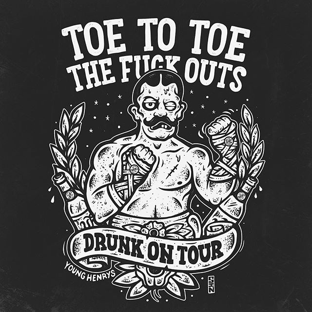 New artwork for the Toe To Toe, Fuck Outs and Young Henrys collaborative shirts. Finally combining our love of fighting, with out love of drinking and partying. Get them aboard the current Toe To Toe tour. #toetotoeshc #toetotoe #thefuckouts #younghenrys #shirtdesign #drunkontour #sindysinn #illustration