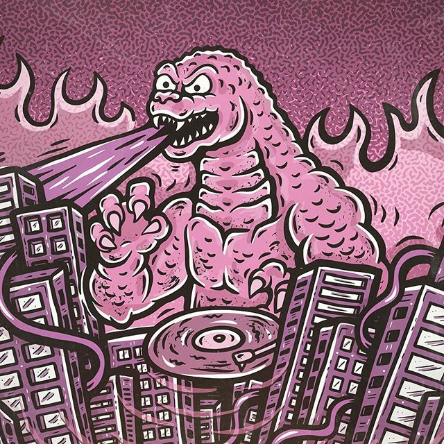 ...my artwork for the new TOHO NIGHTS weekly-events happening at Goros, Surry Hills.  If Godzilla was a DJ, he'd play all the hits, like Big In Japan, Lizard Life and Green Machine. #godzilla