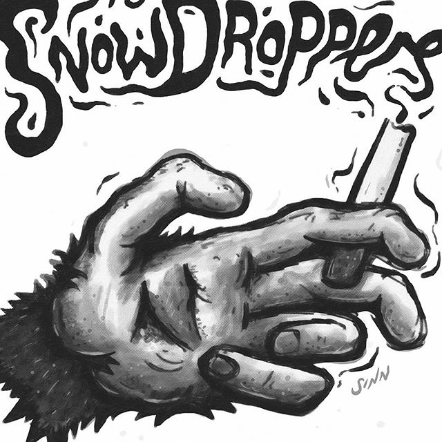 SNOWDROPPERS SHIRTS! ...new shirt artwork for the stomp-ruling mofos, @thesnowdroppers. Quirky new monkey paw, in a more painterly style than usual. Get them onboard the 'BUSINESS' tour which kicks off next week. #thesnowdroppers #monkeybusiness #sindysinn