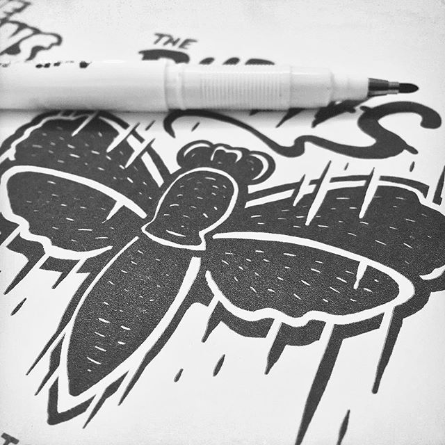 SPEED MOTH... work in progress. Sketching up shirt-designs for a rad as fuck local band, who are kicking off a new tour real soon. If you can guess who it's for, I'll buy* you a beer. #suckeggs #sindysinn #sketch #moth *wont