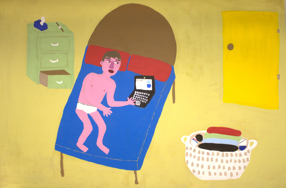 Daniel: In his bedroom with the washing that his mum has just folded  2012 House Paint on Ply 220 x 120cm