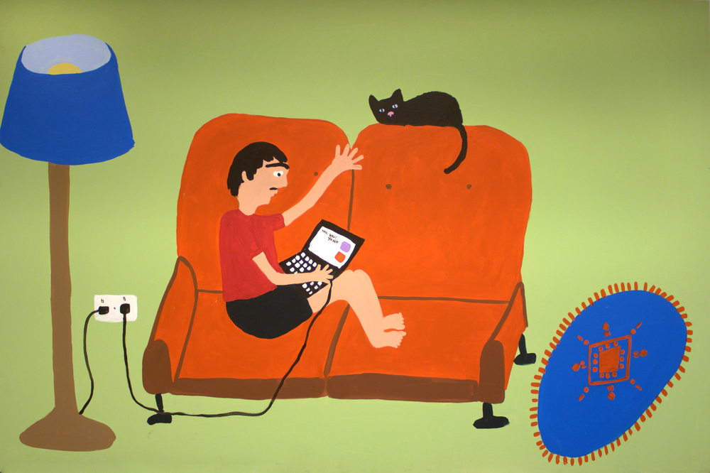 Fabio: On the couch with Luna the cat  2012 House Paint on MDF 220 x 120cm
