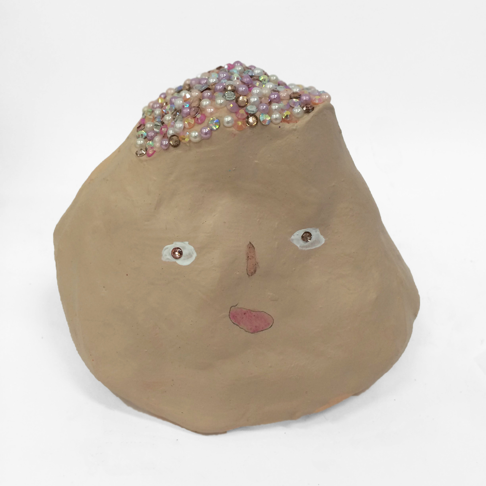 Laurie (1 June 2014)  2014 Air Dry Clay, Acrylic Paint, Gems and Pearls