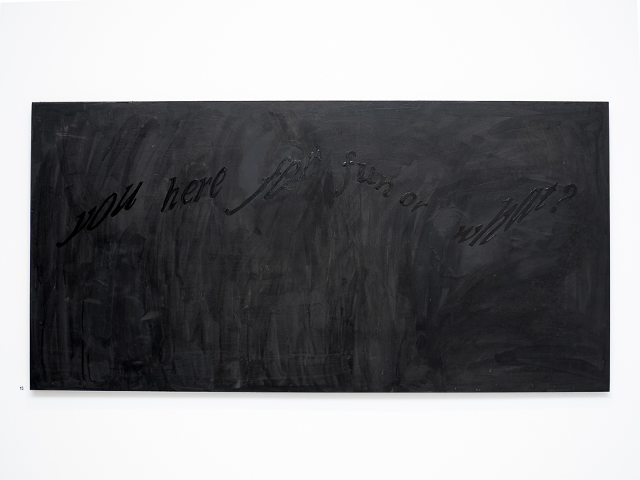 Whisper to me Darling, Don't be afraid; If I dont reply, Don't feel betrayed.   2016 Ink, acrylic paint, enamel on marine ply.  62 x 120cm Photo: Luke Thompson