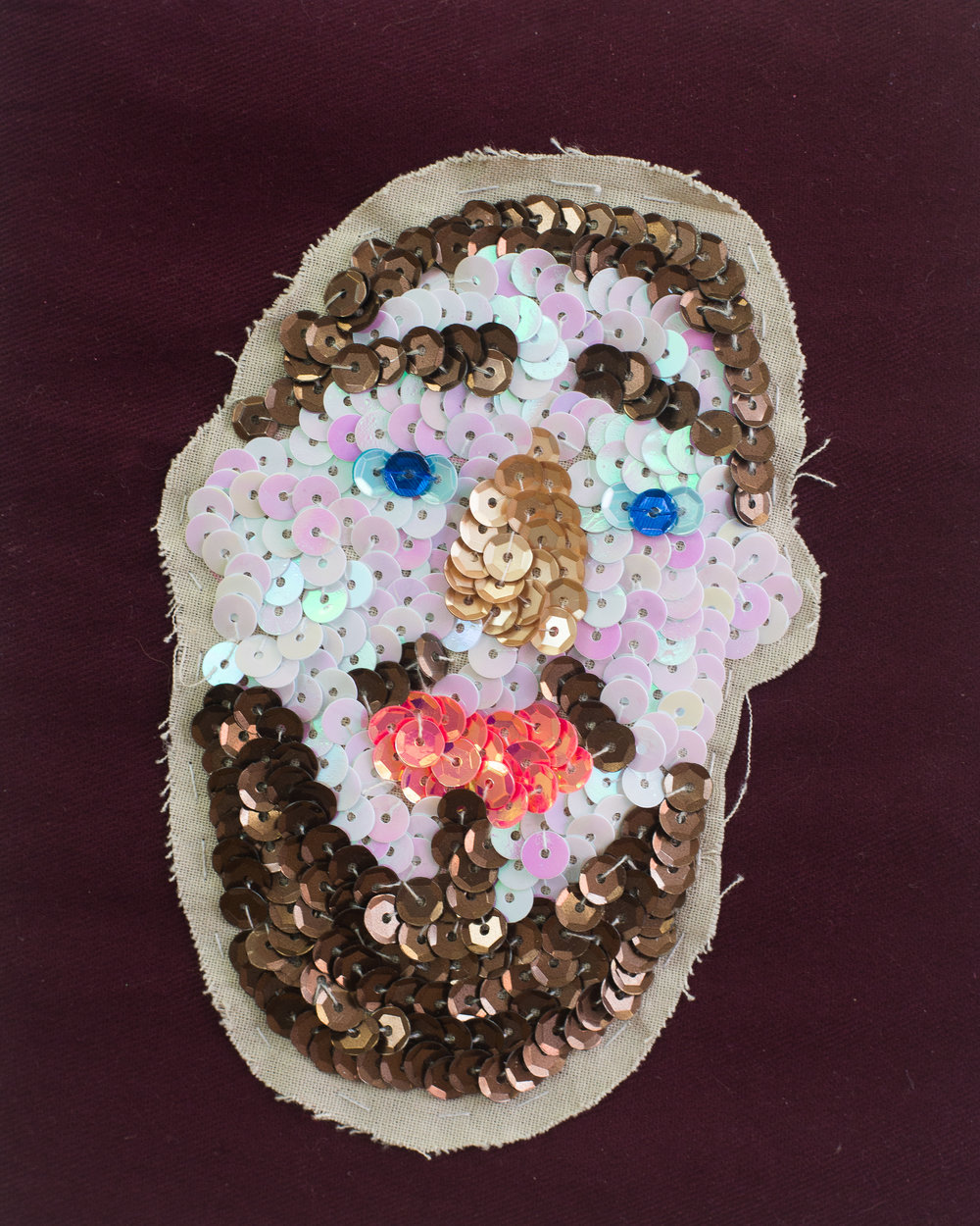 Duncan (A talisman for successful tindering)  (Detail) Cotton, sequins, paper mache, dowel, glitter