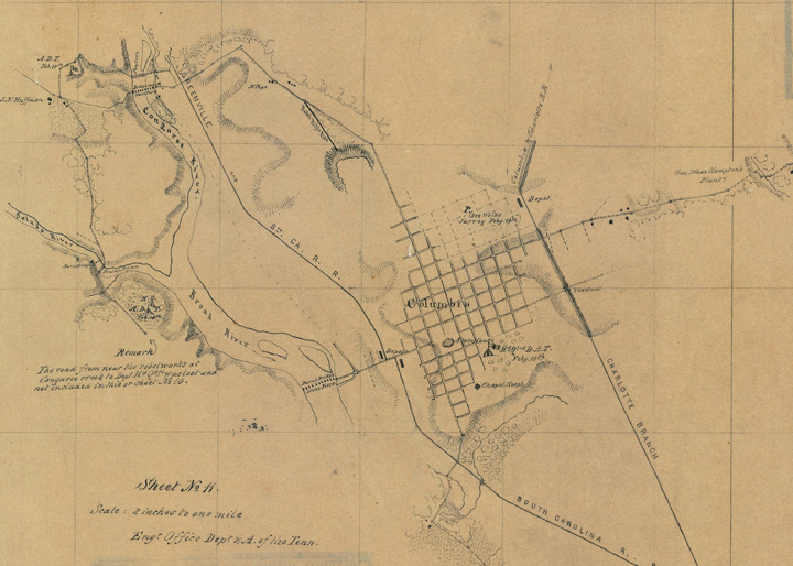 City of Columbia, SC, detail from Map Z12-16A, Griswold's and Weld's Surveys, National Archives and Records Administration