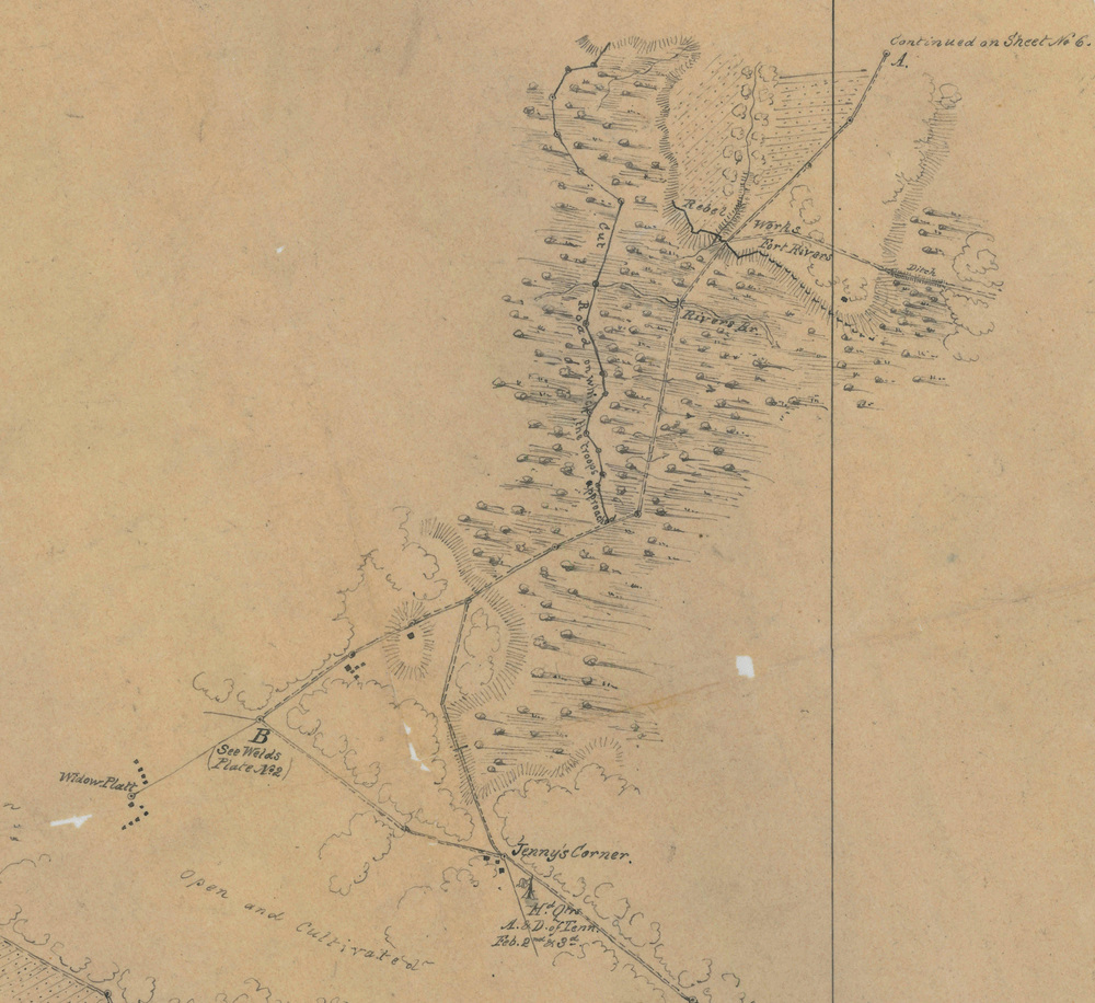 Rivers Bridge approach detail, excerpt from Map Z12-9, National Archives and Records Administration