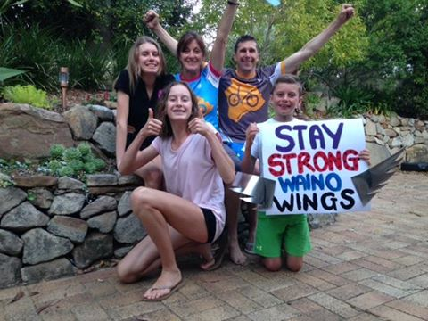 Chris and the rest of the Thomas Family showing their support for Waino who was racing Kona last year.
