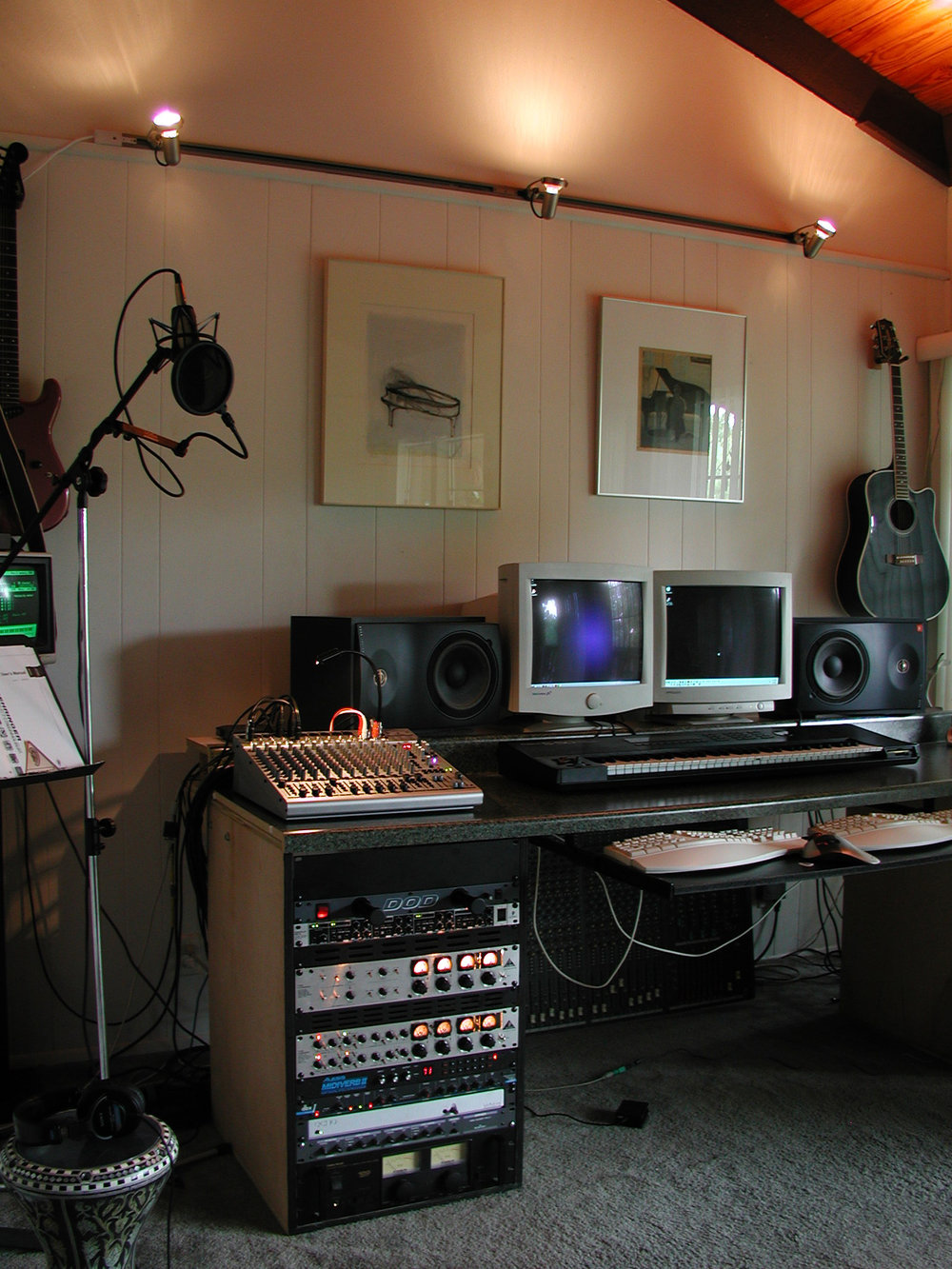 The second setup in Austin on Trailside Drive circa 2002 - This shot is after retiring the large Soundcraft console. I had no where to store it so it stayed propped up behind the desk for awhile until I finally sold it.