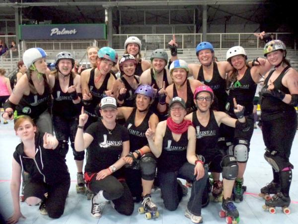 2014 United We Roll Champions: Juneau Roller Girls. Photo from Juneau Empire.